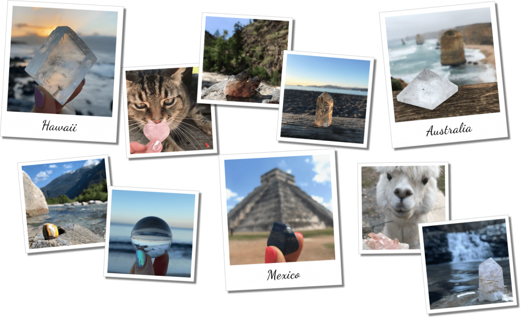 """Polaroid image collage of Crystalyze Guide Instagram. Featuring """"Hawaii, Mexico and Australia"""""""