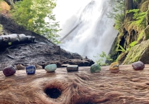 Chakra Stones Log Waterfall