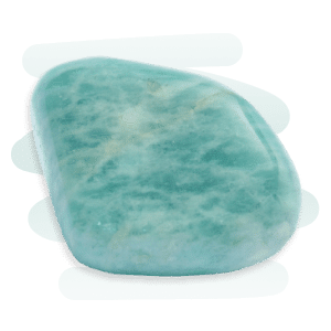 Amazonite tumble stone, turquoise-green with fine white marbled veins and a background accent of a blue squiggle