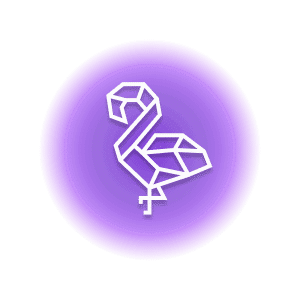 A geometric-shaped flamingo within a purple circle, representing the crystal property of balance.