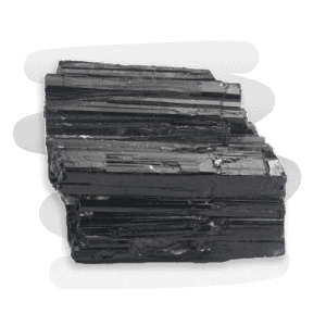 An opaque and shiny Black Tourmaline crystal with long vertical striations.