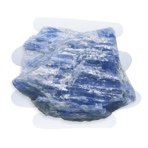 An opaque and glossy Blue Kyanite crystal that has white streaks and flat elongated bladed layers.