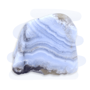 Blue Lace Agate tumble stone, mainly light blue with lace-like patterned banded layers of white and lighter blue tones.