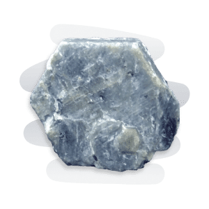 A hexagonal-shaped rough Blue Sapphire stone with white veiny patches.