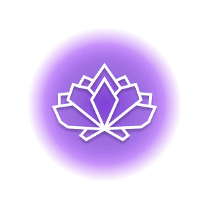 A geometric-shaped lotus flower within a purple circle, representing the crystal property of calm.