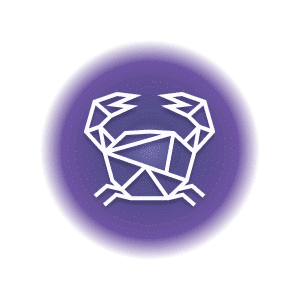 A geometric-shaped crab in a purple circle, representing the Cancer constellation.