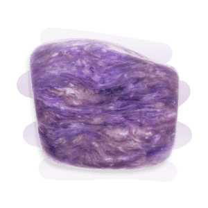 An opaque Charoite tumble stone with a pearly luster, predominantly purple with lilac and white swirling patterns.