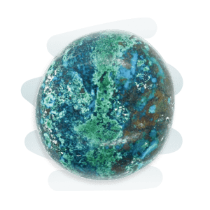 A round Chrysocolla tumble stone, spotted with a blend of green, blue, white and brown patches.