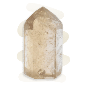 Citrine crystal point in a transparent golden yellow and containing sparkle inclusions.