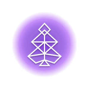 A geometric-shaped tree within a purple circle, representing the crystal property of cleansing.