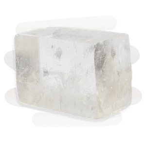A transparent rhombus-shaped Clear Calcite crystal with sparkle inclusions and resembling an ice cube.