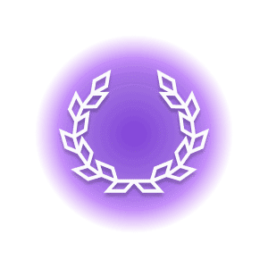 A geometric-shaped roman wreath within a purple circle, representing the crystal property of courage.