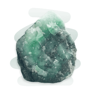 A rough Emerald stone that is blue-green and contains small white fractures.