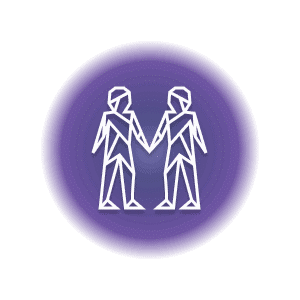 Two geometric-shaped people in a purple circle, representing the Gemini constellation.