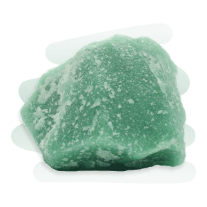 A rough and opaque Green Aventurine stone with white cracks and a glistening shimmer.