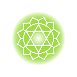 A green heart chakra symbol, featuring twelve petals around a circle containing two triangles that form a six-pointed star.