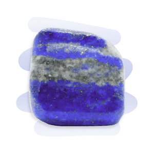 Lapis Lazuli tumble stone in a bright blue with white-grey patches and metallic gold speckles.