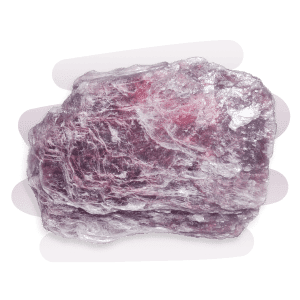 A purplish-pink rough and lustrous Lepidolite stone formed in plate-like layers that often shed tiny flakes.