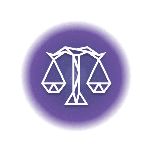 A geometric-shaped balance scale in a purple circle, representing the Libra constellation.