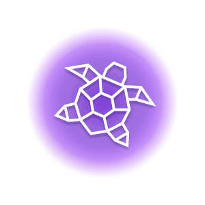 A geometric-shaped sea turtle within a purple circle, representing the crystal property of motivation.