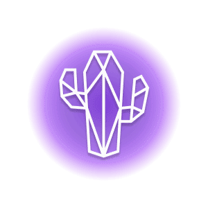 A geometric-shaped prickly cactus within a purple circle, representing the crystal property of protection.