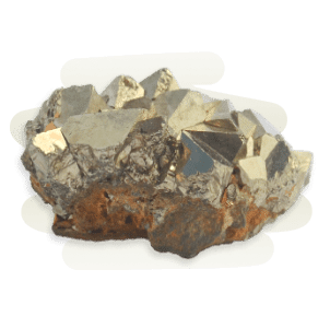 A shiny golden brass Pyrite cluster in a cubic formation and metallic lustre.