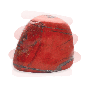 Red Jasper tumble stone in a rusty red with grey veins.