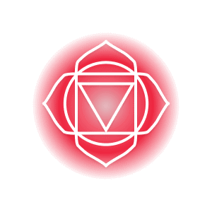 A red root chakra symbol, featuring four petals around a circle that contains a square and inverted triangle.