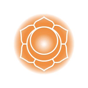 An orange sacral chakra symbol, featuring six petals around a circle that contains a crescent moon.