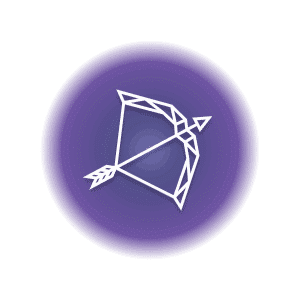 A geometric-shaped crossbow and arrow in a purple circle, representing the Sagittarius constellation.