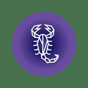 A geometric-shaped scorpion in a purple circle, representing the Scorpio constellation.