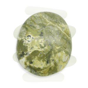 A round and polished Serpentine tumble stone with a blend of green, yellow and white patches.