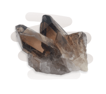 A brown-black transparent and pointed Smoky Quartz crystal cluster.