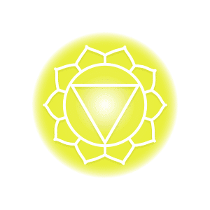 A yellow solar plexus chakra symbol, featuring ten petals around a circle that contains an inverted triangle.