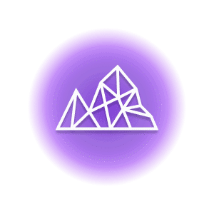 A geometric-shaped mountain within a purple circle, representing the crystal property of strength.