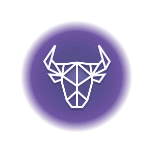 A geometric-shaped horned bull's head in a purple circle, representing the Taurus constellation.