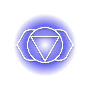 A purple third eye chakra symbol, featuring two petals around a circle containing an inverted triangle.