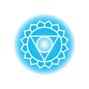 A blue throat chakra symbol, featuring sixteen petals around a circle containing an inverted triangle and smaller circle.
