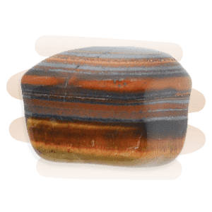 A lustrous Tiger Eye tumble stone with horizontal banded layers of brown, orange and gold.