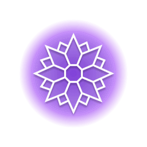 A geometric-shaped blooming flower within a purple circle, representing the crystal property of vitality.