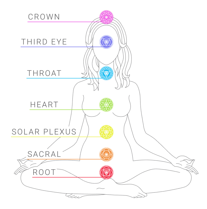 Indicating the location of the seven chakras symbol on a female body diagram in a sitting lotus position.
