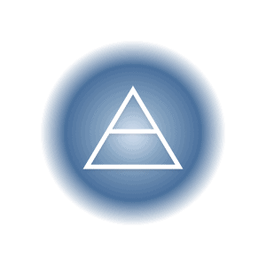 The air elemental symbol within a blue circle, featuring a triangle and horizontal crossbar.