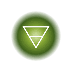 The Earth elemental symbol within a green circle, featuring a downward pointed triangle and horizontal crossbar.