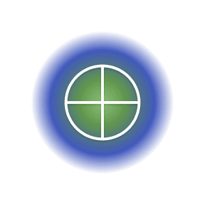 The earth planetary glyph within a green and blue circle.