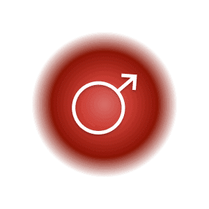 Mars planetary glyph within a red circle.