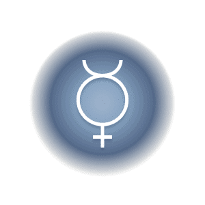 Mercury planetary glyph within a blue circle.