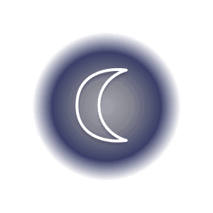 The Moon planetary glyph within a grey and purple circle.