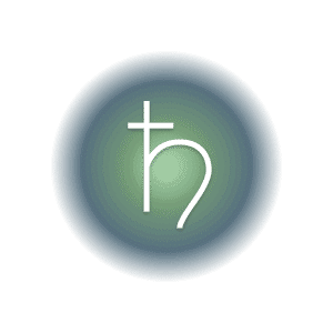 Saturn planetary glyph within a green and blue circle.