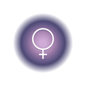 Venus planetary glyph within a pink and purple circle.