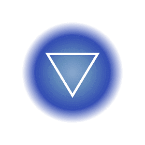 The water elemental symbol within a blue circle, featuring a downward pointed triangle.